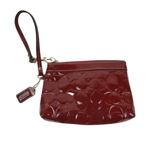 COACH Patent Leather Signature Embossed Wristlet …